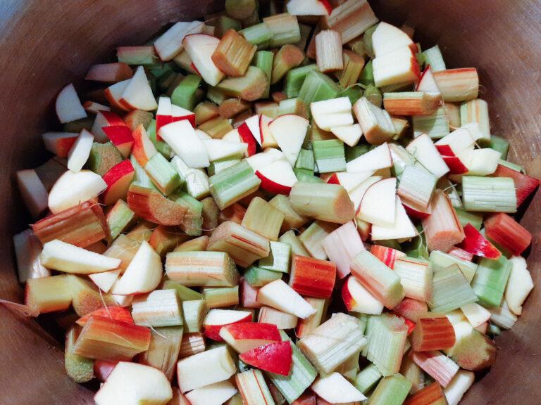 Rhabarber und Apfel geschnitten
